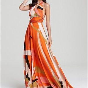 New Issa Silk Mandarin Orange Print Maxi Dress 4